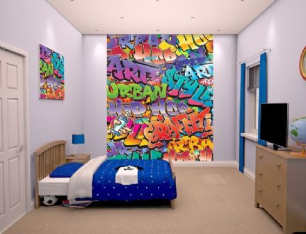 Graffiti Mural (Brick Wall) paper wallpaper